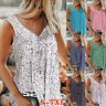 Summer Women Casual Sleeveless Floral V Neck T Shirt Loose Tunic Blouse Tank Top
