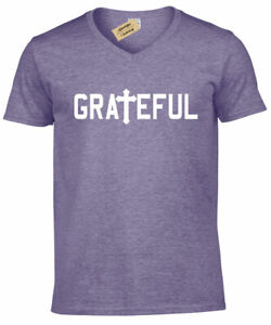 Mens Grateful Christian Religious Tee Cross Jesus Religion V-Neck