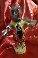 """Rare Hand Carved Wood Figurine Wolf Face Indian Feathers Leather Yarn about 10"""""""