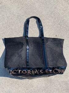 VICTORIA'S SECRET Beach Bag Carry All GOLD LETTERS on BLACK Purse Satchel 💖m💖