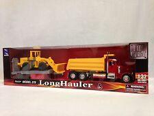 Peterbilt 379 Dump Truck w/Wheel Loader,Flatbed Trailer,Diecast 1:32.New Ray Toy