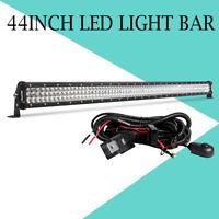 Tri-Row 44'' inch LED Light Bar Flood Spot Combo Offroad Truck 4WD w/ Wiring Kit