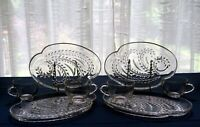 Federal Glass 4 Clear Homestead Hospitality Snack Luncheon Plate & Cup Sets