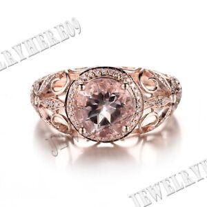 Solid 14K Rose Gold 1.9ct Round 7-8mm Morganite Engagement Diamond FILIGREE Ring