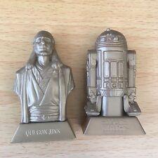 Star Wars Figures Bust Episode 1 R2D2 & Qui Con Jinn Kelloggs loose 2 inch