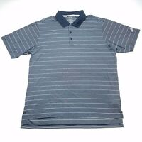 Adidas Golf ClimaLite Blue White Striped Polo Shirt Men's Size Extra Large XL