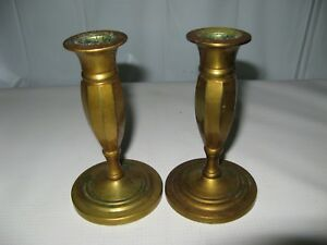 PAIR~17th/18th Century~Antique~Lathe Turned CAST BRASS CANDLESTICKS~screw base