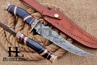 HUNTEX Custom Handmade Damascus Steel 33 cm Long BuffaloHorn Hunting Bowie Knife