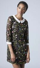 Topshop Premium Peter Pan Collar Embroidered Wild Pansy Floral Vtg Dress 6 2 XS