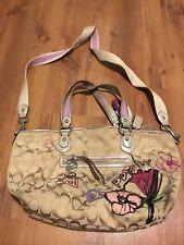 RARE Coach Preowned Poppy Flower Handbag Tote Purse Tassel