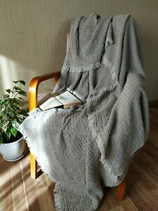 Natural Rustic Throw blanket 100% LINEN FLAX unpainted luxury eco bedcover wrap