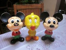 Lot (3) Vintage Mickey Mouse & Tweety Bird Talking Pull String Figures 1976