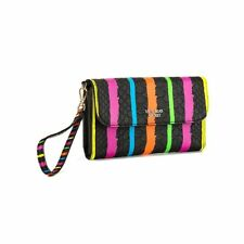Victoria's Secret Women's Black Multi Stripe Phone Tech Clutch Bag Wristlet NWT