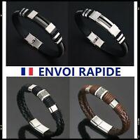 Bracelet Homme Acier Inoxydable Simili Cuir Gourmette Silicone