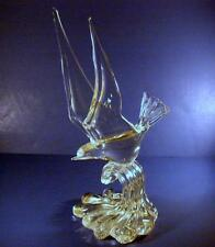 Hollywood Regency Murano Art Glass Bird over Water Sculpture Signed & Dated