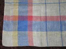 Antique Tablecloth Stripes-Plaid-Vintage Linen Woven-Blue Red stripe ecru