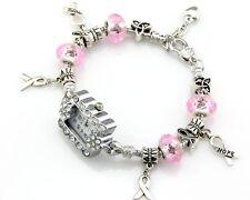 1pcs Fashion Charm Watch Bracelet Pink Crystal Fit European Bead 20cm WP022