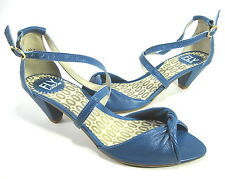 FLY LONDON WOMEN'S PESTO OPEN-TOE PUMP BLUE MOUSSE LEATHER EUR 38 US SZ 7 MEDIUM