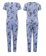 New Womens Summer Blue Floral Print Celebrity Jumpsuit One Piece Playsuit Dress