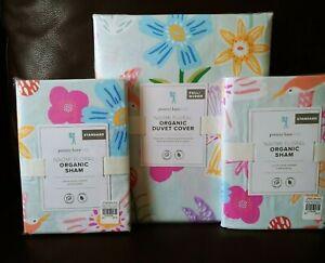 3pc Pottery barn kids Naomi Floral Full Queen Duvet Standard Shams Bird Flower