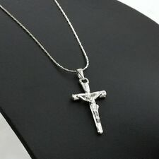 Cross Necklace Silver Jesus Christ Crucifixion Cross Rough Design