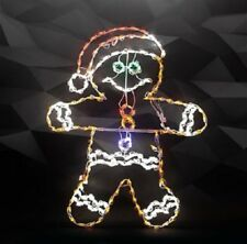 New XMAS Gingerbread Boy Holiday Outdoor LED Lighted Decoration Steel Wireframe