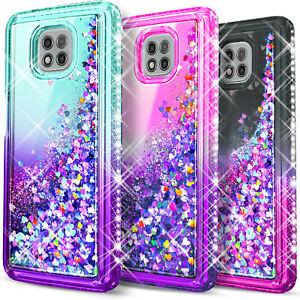 For Motorola Moto G Power 2021 Case, Glitter Bling + Tempered Glass Protector