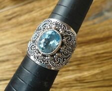 925 Sterling Silver-IL150-Bali Hand Made Ring With Oval Blue Topaz Size 8