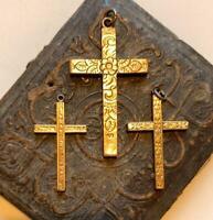 pick1 -  Antique Gold Cross pendant 12k gold fill Cross religious victorian