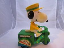 """1966 Peanuts 5.5"""" Snoopy Riding Tricycle Scooter Vintage Push Toy"""