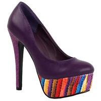 Black/Purple Multi-Colored Platform High Heel Stiletto Pumps Size 4/5/6/7/8/9/10