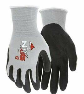 MCR Safety 9673S NXG 13Gauge Nylon Gray Black Nitrile Coated Palm 12Pairs Gloves
