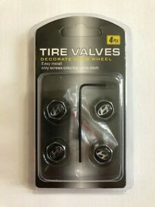Universal Lockable/Anti Theft Wheel Valve Stem Cap Set For Hyundai Chrome/Black