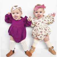 Infant Toddler Baby Girls Floral Romper Flying Sleeve Bodysuit Jumpsuit Outfits