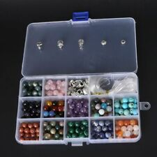 Natural Stone Round DIY Beads Kit for Bracelet Making Buddha Skull String Box