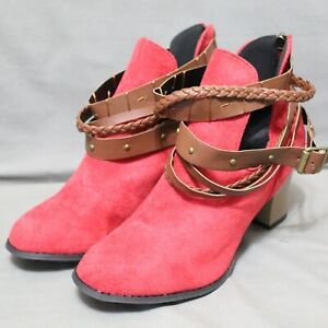 """ROSY women's back zip strap accents 3"""" block heel ankle boots size 9.5 M red NEW"""