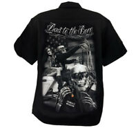 David Gonzales Art DGA Ride or Die Bad To The Bone Biker Adult Mens Work Shirt