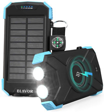 Caricabatterie Solare Cavo QI Wireless Portatile LED Impermeabile 10000 mAh