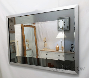Modern Silver Frame Grey Smoked Glass Bevelled Wall Mirror 106x82cm UK Quality