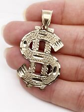 "Sign Mens Pendant 3.6 Grams, 1.41"" 10K Yellow Gold Diamond Cut Large Dollar"