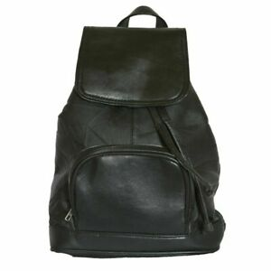 Genuine Leather Backpack, Double Strap - BLACK AND MAROON