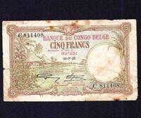 Belgium Belgian Congo 5 Francs 1926  P-8