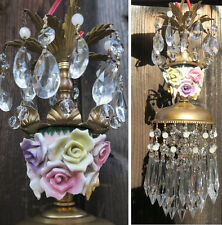 1 Porcelain Rose Brass tole chandelier Swag vintage lamp crystal beaded purple