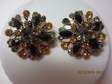 Vintage Florenza Clip Earrings-Signed-Gorgeous Cluster Stones & Design!!!!