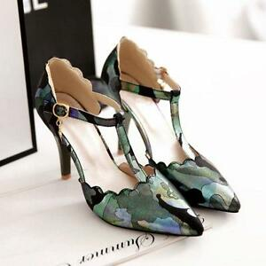 Womens Sandals Floral T-strap High Heels Pointy Toe Casual Shoes Pumps UK Size