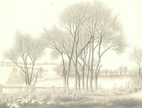 Ronald A. Broad - C.1970 Graphite Drawing, Early Spring Farm