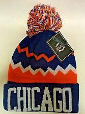 Chicago Bears Team Color Chevron Striped  Pom Pom Knit Beanie Hat
