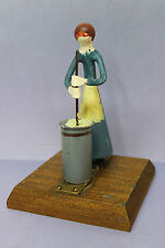Primitive Folk Art - Woman Churning Butter Painted on Metal w/ Brass/Wood Base