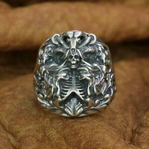 925 Sterling Silver Dark Banshee Skull Ring Mens Punk Ring TA259A US 7 to 15