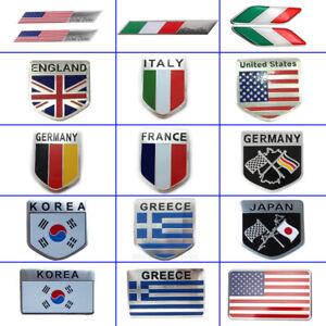 3D Aluminum Car Auto Sticker Various Flag Emblem Badge Grill Decal Bumper Decor